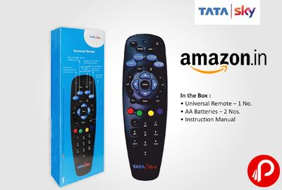 Amazon is offering Tata Sky Universal Remote Original at Rs.299 Only. Original Remote By Tata Sky, Instruction manual for configuring the remote with TV, 2 Batteries.  http://www.paisebachaoindia.com/tata-sky-universal-remote-original-at-rs-299-only-amazon/