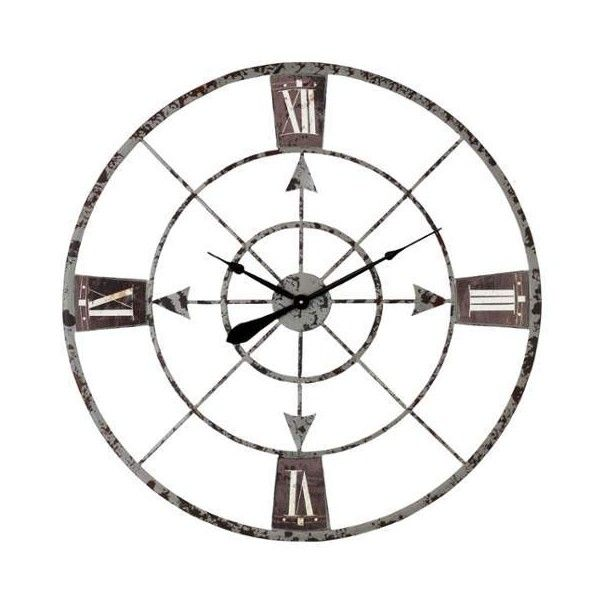 Aspire Home Accents 4516 35 Inch Diameter Iron Clock from the ($76) ❤ liked on Polyvore featuring home, home decor, clocks, grey, wall clocks, circular clock, iron wall clock, hand compass, iron home decor and gray wall clock