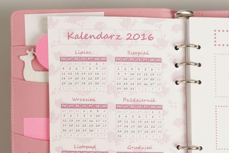 Projekt kalendarza na 2016 rok w planerze w wersji FLORAL