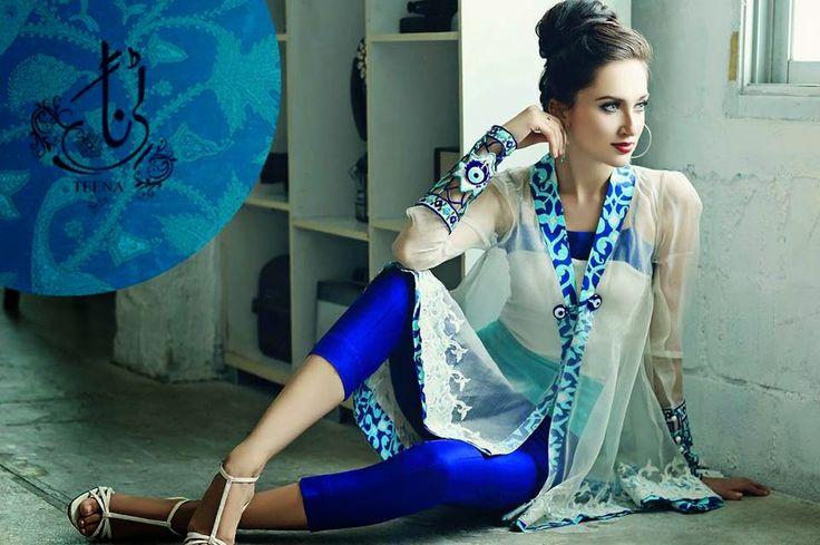 gown ,pakistani fasion ,pakistani dresses,blue ,dress,open shirt