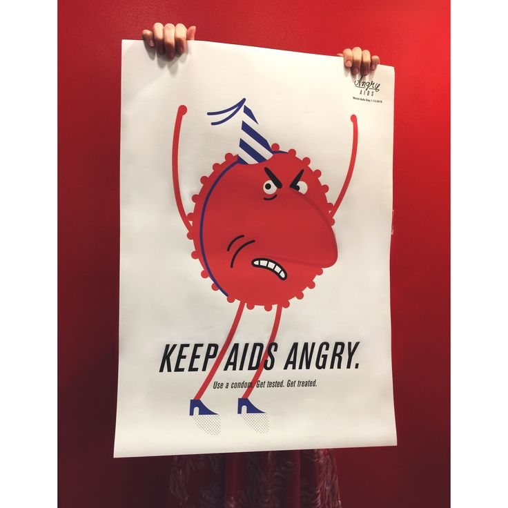 Poster for Angry Aids campaign.  Use a condom. Get tested. Get treated. Illustrator: Ville Savimaa