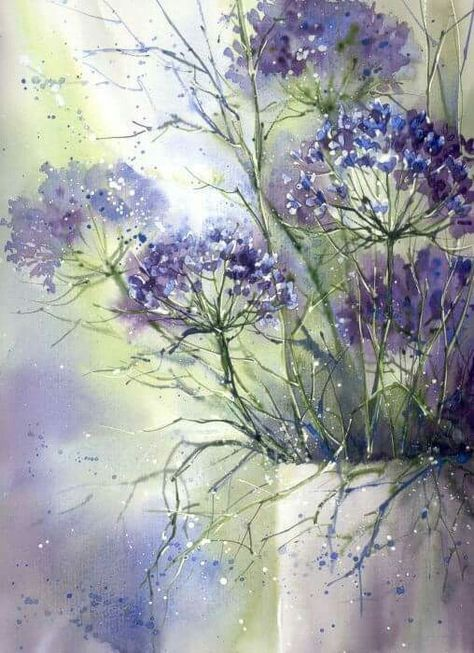 Purple flower painting with pretty mottled background colors.