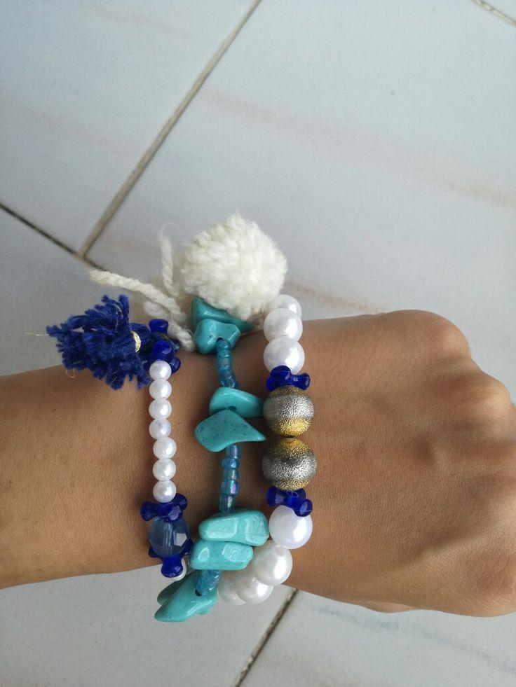 Goutsouniarika kosmimata, blue, navy, bracelets