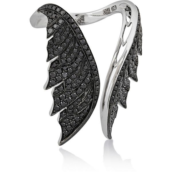 Stephen Webster Magnipheasant Open Wing 18-karat white gold diamond... ($10,800) ❤ liked on Polyvore featuring jewelry, rings, black, white gold pave diamond ring, black diamond jewelry, feather diamond ring, white gold diamond jewelry and black ring