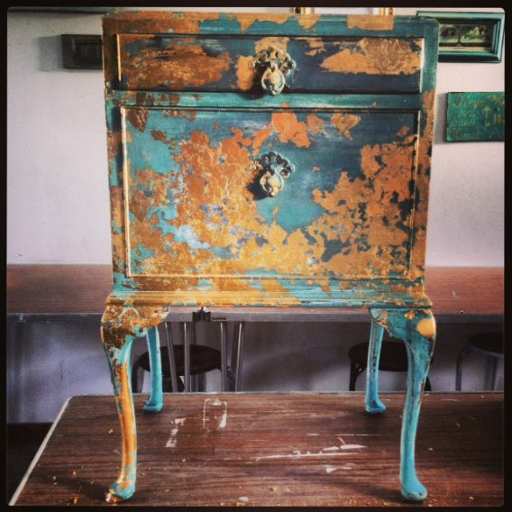 This is a piece I found on the side of the road and painted in antique turquoise in Autentico paint, used dark wax and gilded with gold leaf. This beautiful piece is now sold :) But I am creating another as we speak!