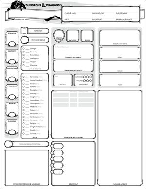Character Sheets | Dungeons & Dragons
