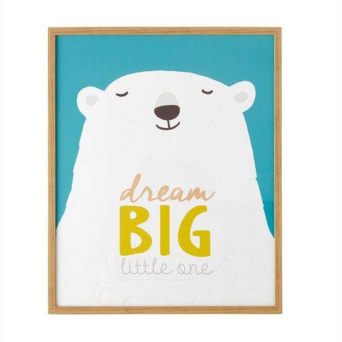 Tableau ours polaire 62 x 72 cm KIMO illustration enfant polar bear Maisons du Monde 34,99€