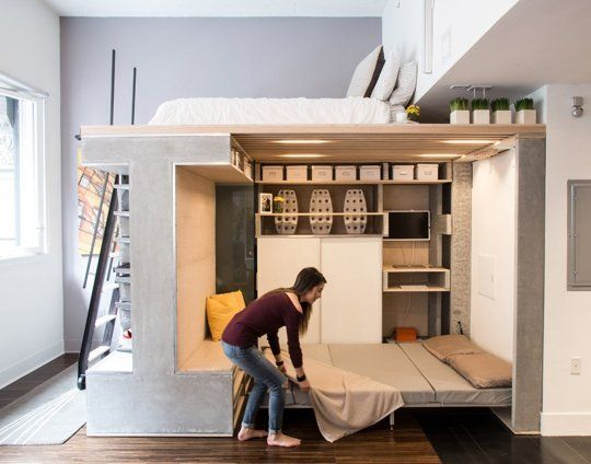 super clever small space solution the transforming living 19901 | dc192ed106bc40e73dd25925c7631c90 lofted bedroom loft beds