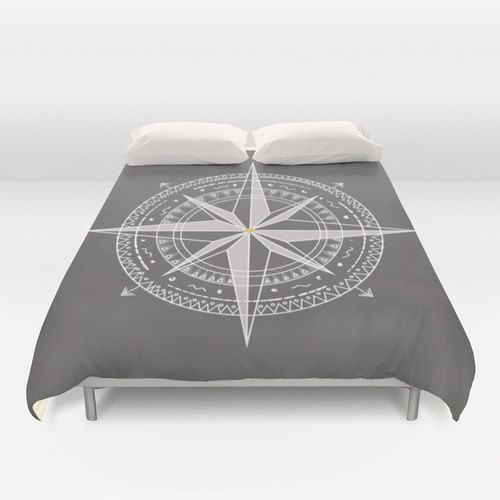 Nautical Compass Duvet Cover Personalized Color Twin Full Queen King Women Man Gift Accent Bedding Beach Bedroom Decor Coastal Cottage House