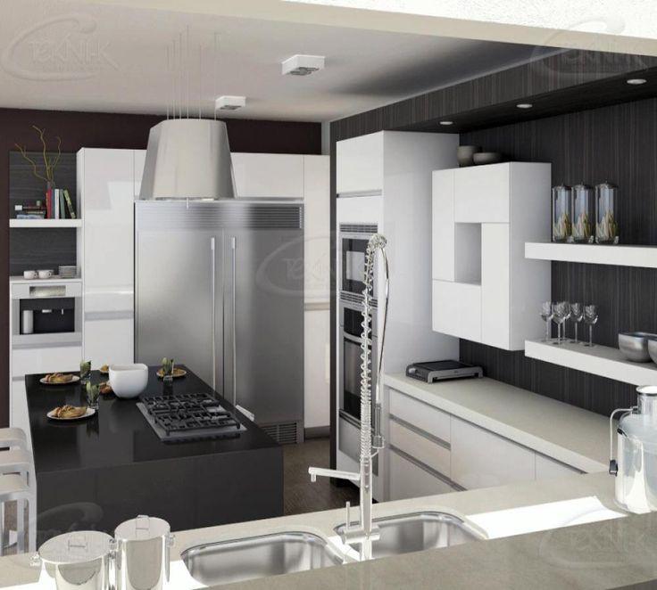 El espacio de la cocina no siempre es abierto sin embargo - Cocinas en negro ...