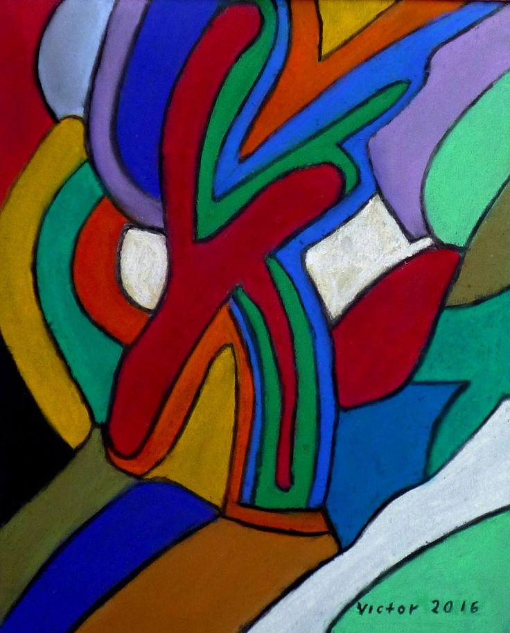 Färgpusslet, pastell. The color puzzle, pastel.