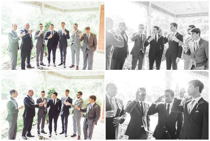 Wedding Party Shots - groomsmen drinking before ceremony - toasting the Groom - Alton Mill Wedding