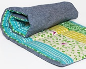 Echino NAP MAT - Eco-Friendly Toddler Napmat for Preschool and Daycare with Organic Denim - Gold, Aqua and Green Stripes