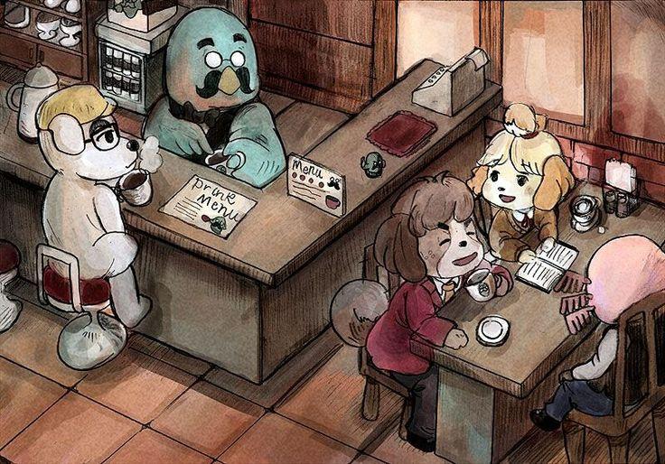 K.K.+ Brewster + Digby + Isabelle + Dr. Shrunk   Animal Crossing New Leaf