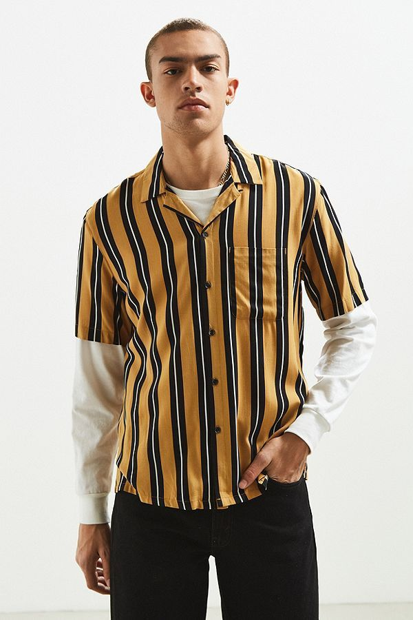 33ce07b1bf UO Rayon Vertical Stripe Short Sleeve Button-Down Shirt in 2019   #6 ...