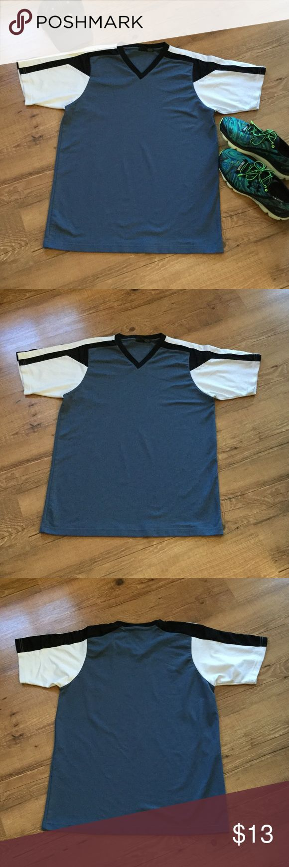 """Men's blue, black, white v-neck Slate blue color with black and white sleeves. It is that """"tech"""" type texture like on golf/sport shirts.  100% polyester. Please ask any necessary questions prior to purchasing. No trades. Save even more with a bundle discount! Shirts Tees - Short Sleeve"""