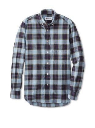 76% OFF Troy Shirtmakers Guild Men's Long Sleeve Button Down Plaid Shirt (Blue Combo)