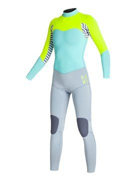 roxy, 4/3mm XY Back Zip - Combinaison de surf, Grey/Blue/Green (xsbg)