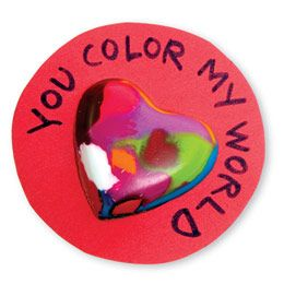 cute valentine idea for kids - make melted crayon hearts with chocolate