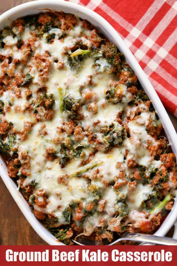 Deliciously Cheesy Ground Beef And Kale Casserole Is Flavored With Tomato Sauce Garlic And Oreg Kale Recipes Healthy Cheesy Kale Casserole Healthy Food Blogs