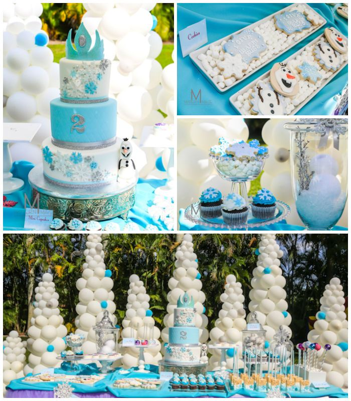 Disney's Frozen inspired birthday party with Such Cute Ideas via Kara's Party Ideas   Cake, decor, cupcakes, games and more! KarasPartyIdeas...