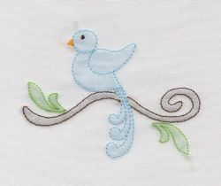 Shadow Work & Embroidery :: Shadow Bird on Branch Machine Shadoiw Work