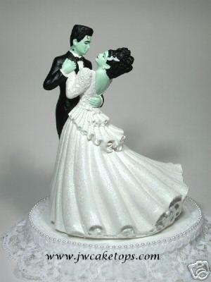 Frankenstein and Bride of Frankenstein cake topper--I love this