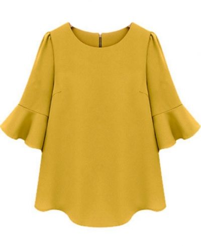 Yellow Ruffle Blouse - great with jeans & heels
