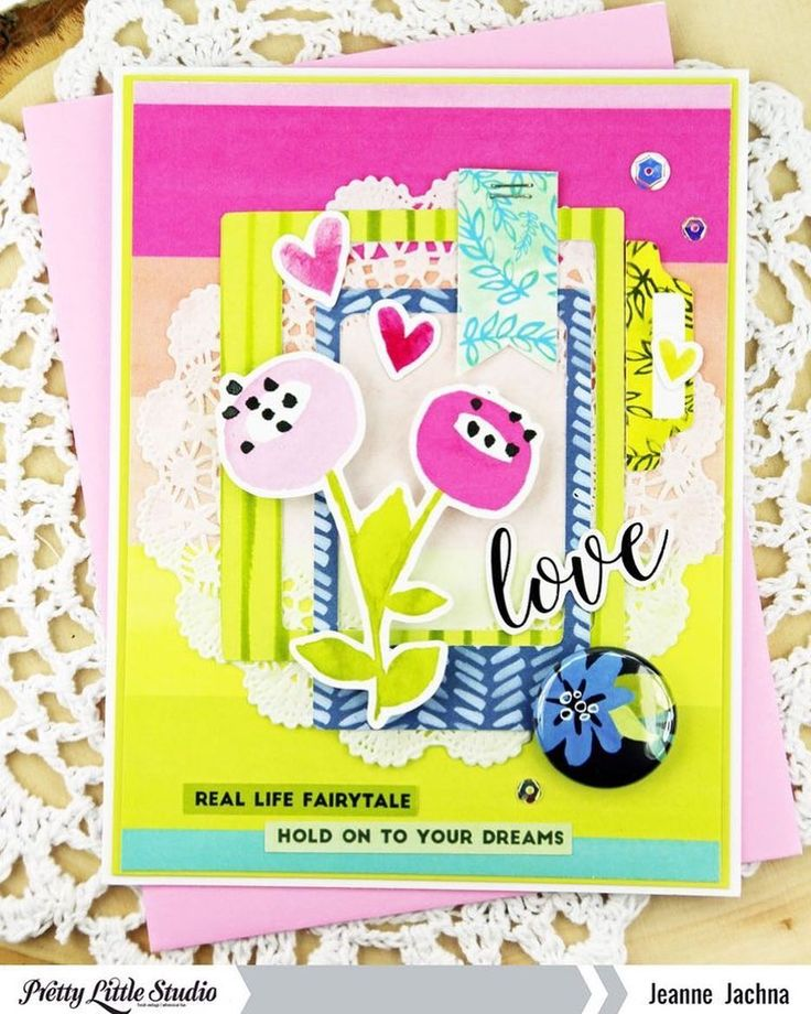 Check out this bright, colorful card that designer @jeannejachna created with the Tales & Dreams collection!  .  .  #prettylittlestudio #ziniatalesanddreams #cardmaking #papercrafts