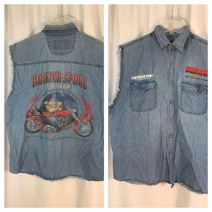 V Twin Motorcycle Apparel Broken Spoke Saloon Laconia 2005 Blue Jean Shirt XL #VTwin #ButtonFront