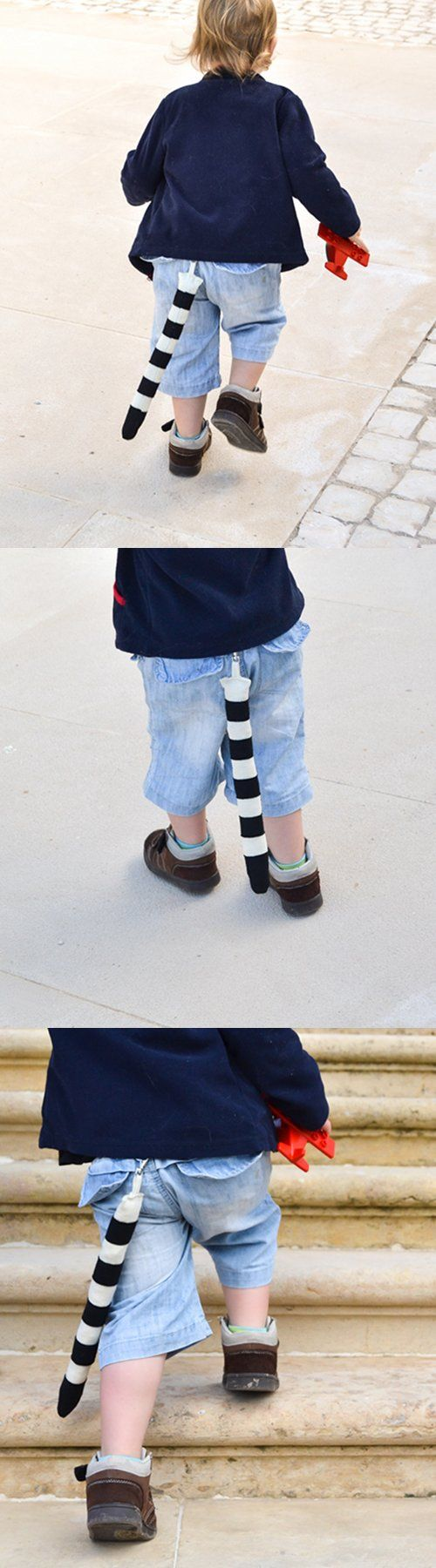 Stripy dress up tail. Halloween or Carnival costume accessory for kids to dress up like a ringed tail lemur, dog, cat or just an imagined creature. Excellent soft toy for imaginative play. | BHB Kidstyle