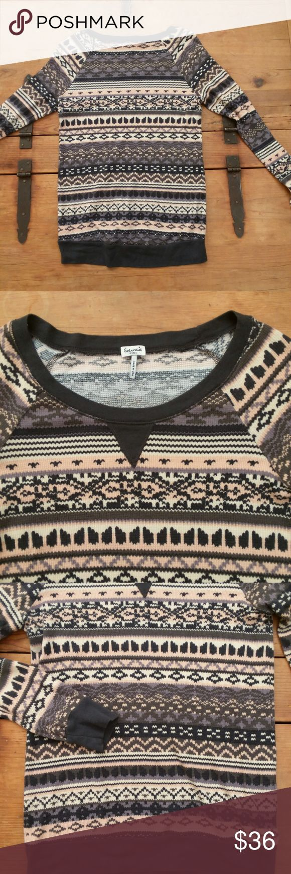 Splendid Boho Aztec Womens Thermal Longsleeve Top SPLENDID long sleeve shirt scoopneck thermal top.  Beautiful and trendy Aztec / tribal / Boho print with navy blue and yellow tones.  Soft and cozy!  This fantastic top is perfect as either a layer or stand-alone piece.  Excellent condition! Size small. Splendid Tops Sweatshirts & Hoodies