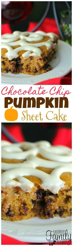 This Chocolate Chip Pumpkin Sheet Cake is the perfect recipe holiday parties! Not only does it taste amazing, but it feeds a crowd and looks pretty too. via @favfamilyrecipz