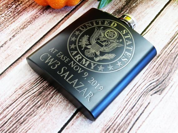 Military Promotion, Retirement, Rank Flasks, Army, Navy, Air