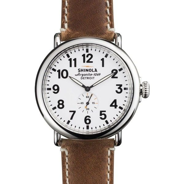 Shinola Runwell 47mm Leather Watch ($550) ❤ liked on Polyvore featuring jewelry, watches, crown jewelry, shinola, leather band watches, leather wrist watch and leather crown