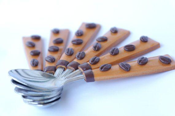 Coffee Spoons set Handmade polymer utensil by Velwoo on Etsy, $43.00