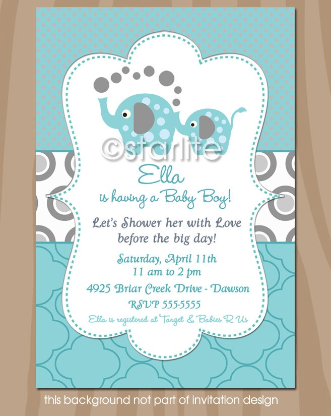 Elephant Baby Shower Invitation - Elephant Showers - Aqua and Gray - Gender Neutral - Baby Shower  - Printable INVITATION DESIGN. $15.00, via Etsy.