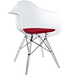 LexMod Eiffel Arm Chair with Clear Seat and Wooden Legs