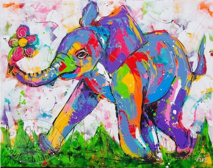 Vrolijk Schilderij Vrolijke olifant met bloem