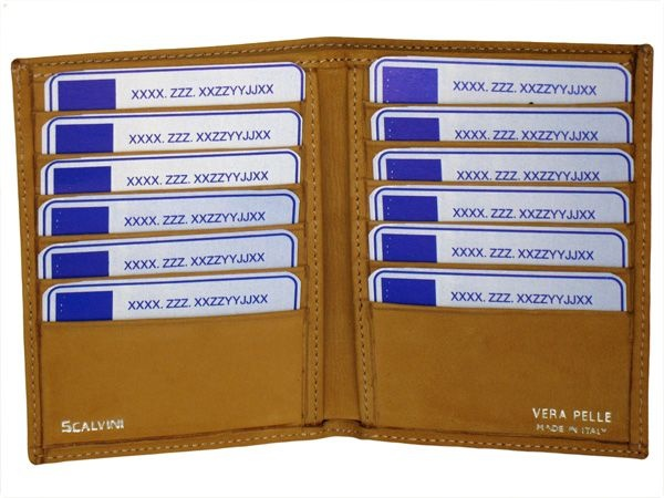 Credit card holder in nubuck with space for bank-notes yellow