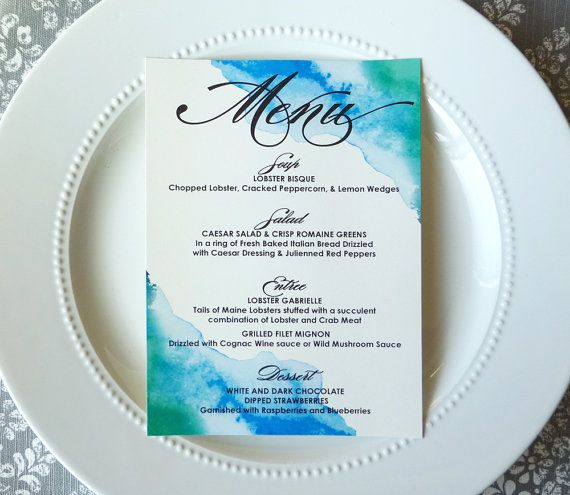 PRINTED Wedding Menus -  5x7 inches - Watercolor Menu in Blue and Green