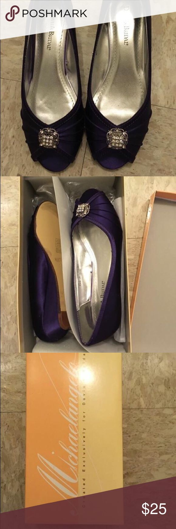 David's Bridal Kelsey Peep toe in Purple Never Worn Before - David's Bridal Dyeable Wedge Peep Toe with Rhinestone Ornaments in Regency color. Size 7.5. Runs a little large, I usually wear 8-8.5. Asking 25. David's Bridal Shoes Wedges