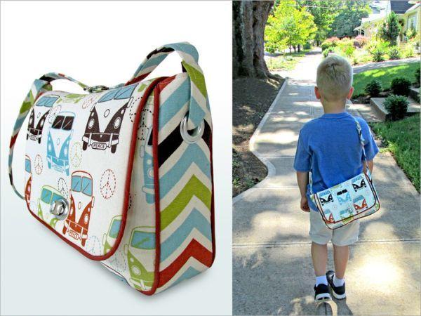 Esta bolsa infantil de tecido pode ter a cor, a estampa e o detalhe de sua preferência (Foto: sew4home.com)