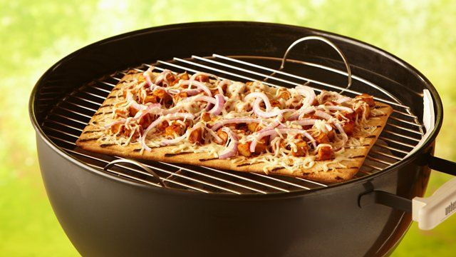 BBQ chicken pizza that's made using Pillsbury® refrigerated artisan pizza crust with whole grain
