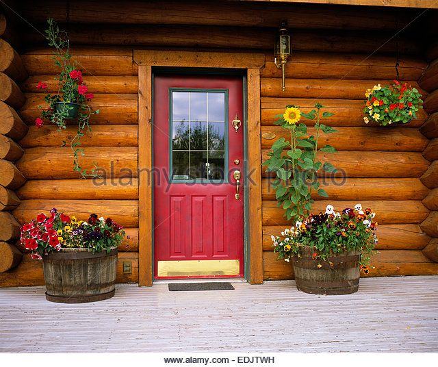 Entrance to a Log Cabin - Stock Image
