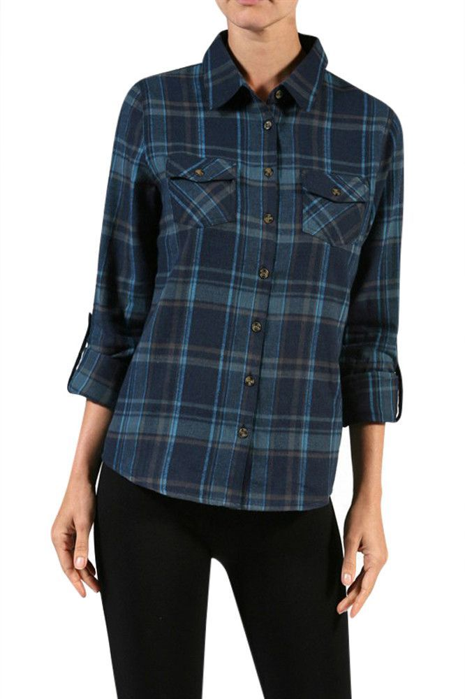 Zelda Front Pocket Plaid Blouse 98