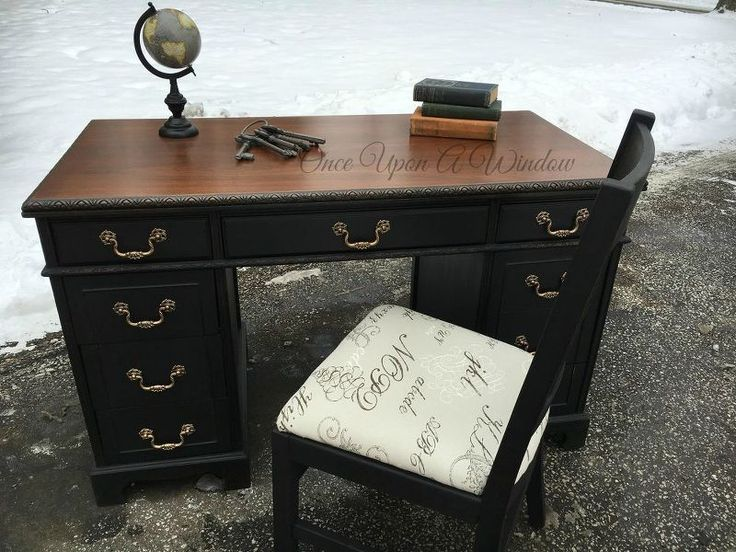old desk makeover, painted furniture