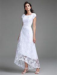 2017 lanting bride® Mantel / Spalte Hochzeitskleid asymmetrische Schaufel-Spitze mit Spitze