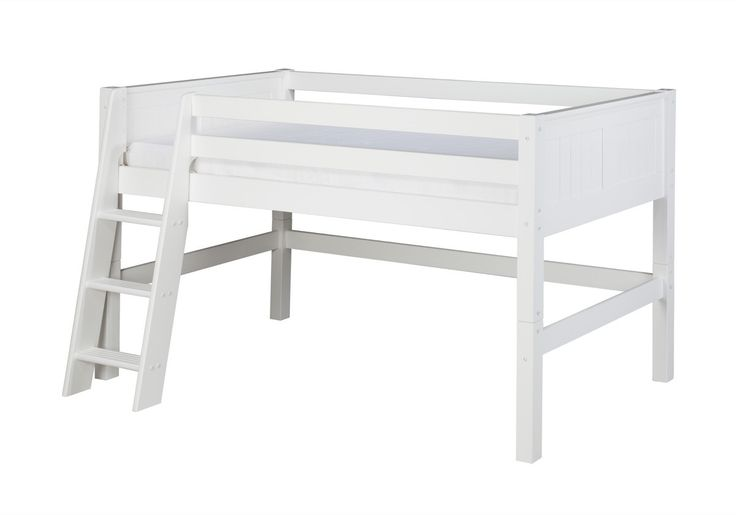 Camaflexi Low Loft Bed - Panel Headboard - White Finish - C423_WH