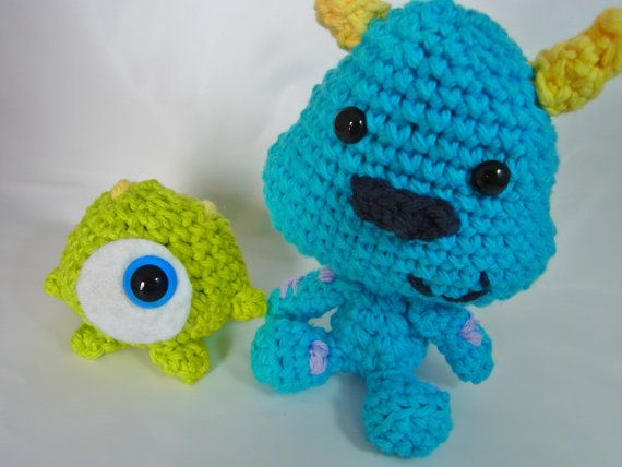 Amigurumi Monsters Inc : Disney Monsters Inc Inspired Baby Mike and Sulley ...